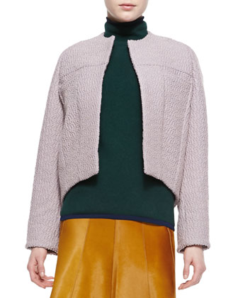 Seamed Rounded Jacket, Cashmere-Blend Turtleneck Sweater & Seamed Calf Hair ...