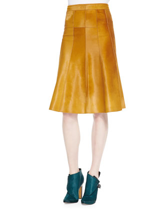 Seamed Calf Hair Skirt