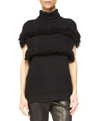 Cashmere Fringe-Detail Turtleneck Sweater & Moto Leather Leggings