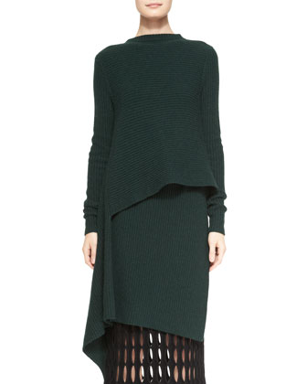 Cashmere Boat-Neck Asymmetric Tunic & Felt Mesh-Detail Pencil Skirt