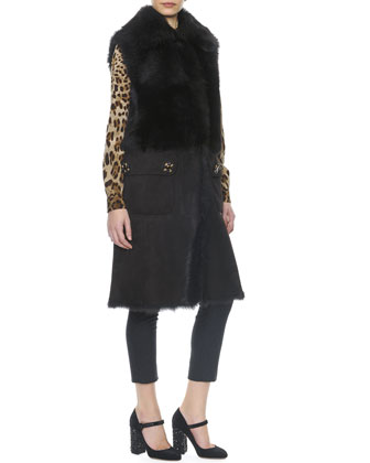 Long Shearling Vest with Buttons, Leopard Print Tie-Neck Silk Blouse & Side ...