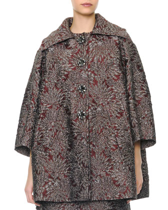Metallic Jacquard Opera Coat & Dress with Crystal Buttons