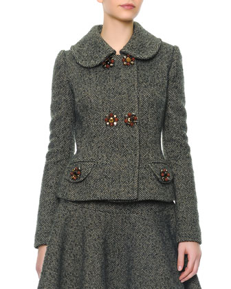 Double Jewel Button Herringbone Jacket & Herringbone Wool Flirty Skirt