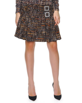 Double Crystal Buckle Tweed A-Line Skirt