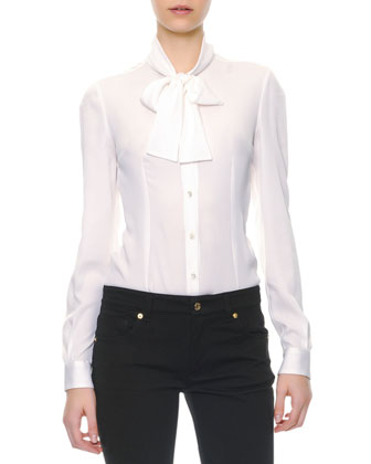 Long-Sleeve Silk Tie-Neck Blouse