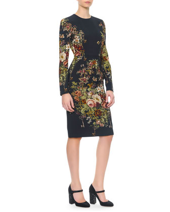Long-Sleeve Floral & Key-Print Dress