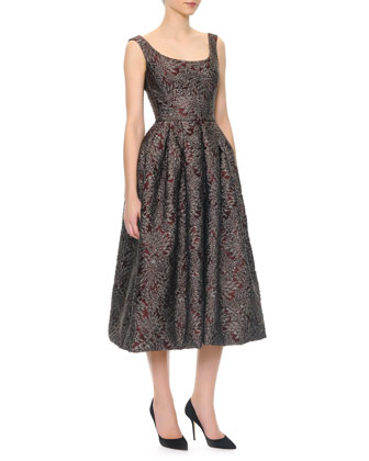 Scoop-Neck Full Skirt Tea-Length Dress