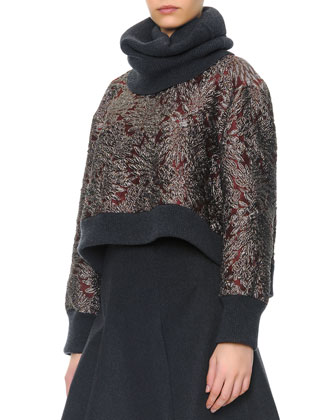 Brocade Crewneck Top with Ribbed Cashmere Trim