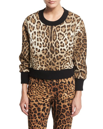 Leopard-Print Top with Knit Collar & Cuffs & Cropped Leopard-Print Brocade ...