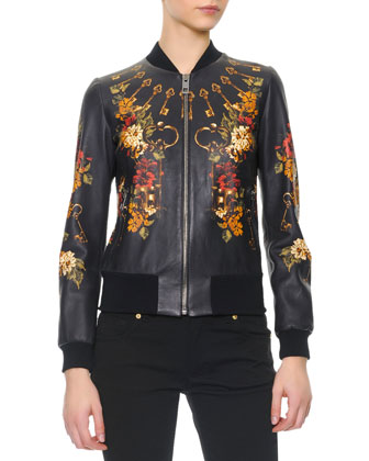 Floral/Key Print Baseball Leather Jacket/Long-Sleeve Silk Tie-Neck Blouse & ...
