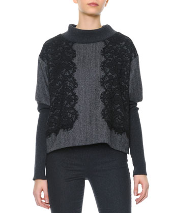 Black Lace Applique Ribbed Knit Sweater