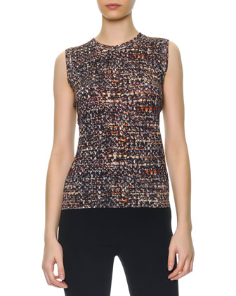 Sleeveless Printed Tweed Sweater