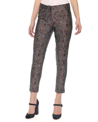 Slim Metallic Jacquard Pants