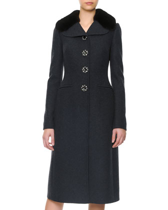 Mink Collar Jewel-Button Coat