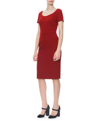 Bracelet-Sleeve Velvet Appliqu?? Jacket & Short-Sleeve Scoop-Neck Sheath Dress