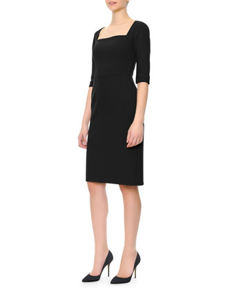 1/2-Sleeve Square-Neck Dress