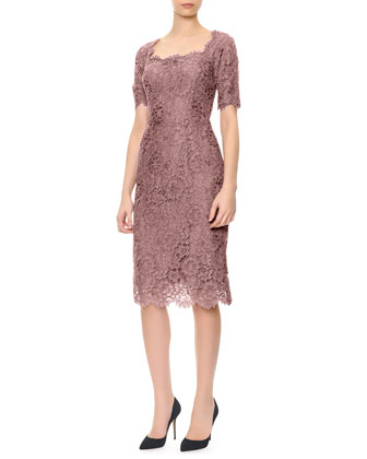 Short-Sleeve Lace Square-Neck Dress