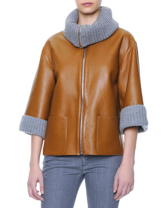 Ribbed Cashmere Collar & Cuff Leather Jacket, 3/4-Sleeve Ribbed Cashmere ...