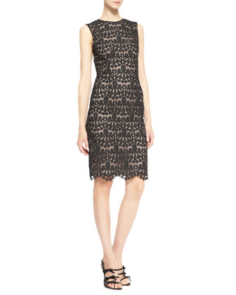 Mardi Cropped Organza Jacket & Brenton Lace Sleeveless Sheath Dress