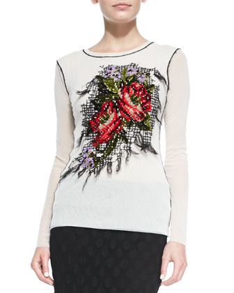 Long-Sleeve Floral-Embroidered Top, White