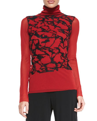 Long-Sleeve Graffiti Turtleneck, Red