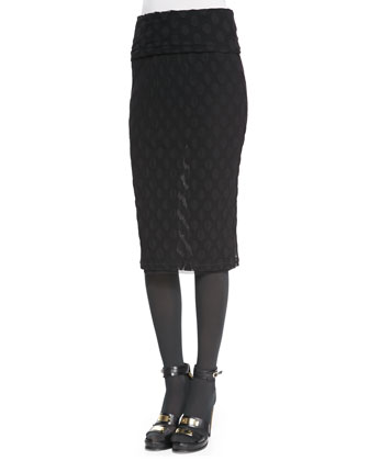 Polka Dot-Textured Skirt with Fold-Over Waist