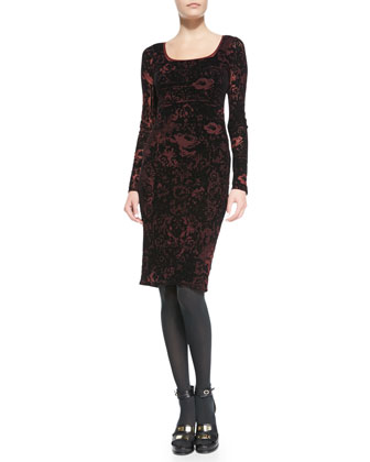Lace-Print Long-Sleeve Dress with Velvet
