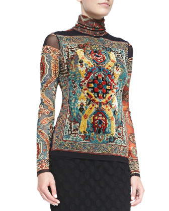 Long-Sleeve Tile-Print Top with Flocking