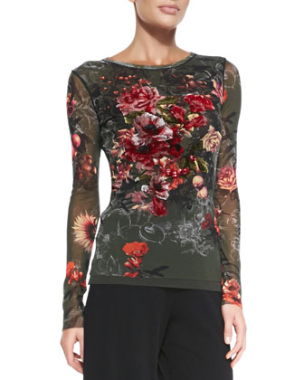 Long-Sleeve Embroidered Floral-Print Tulle Top
