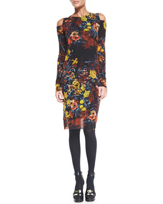 Floral-Print Long-Sleeve Dress with Cold Shoulders