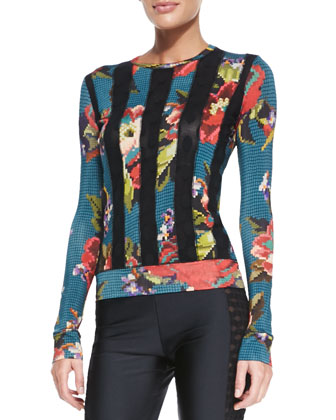 Floral-Print Dot-Striped Top, Blue/Multi