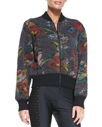 Floral-Print Bomber Jacket, Black/Red/Multi
