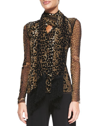 Leopard-Print V-Neck Top with Scarf