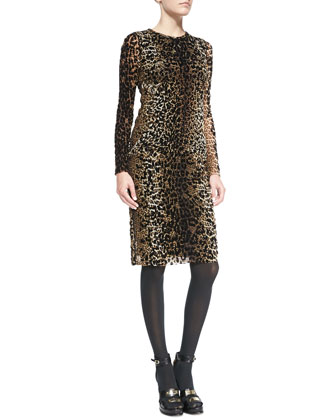 Long-Sleeve Leopard-Print Dress