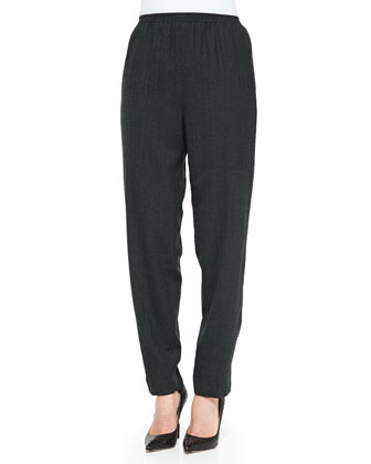 Pull-On Narrow-Leg Ankle Pants, Charcoal