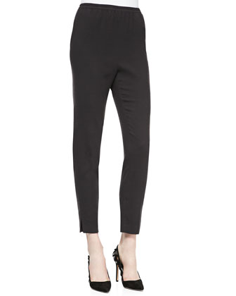 Narrow-Leg Pull-On Ankle Pants