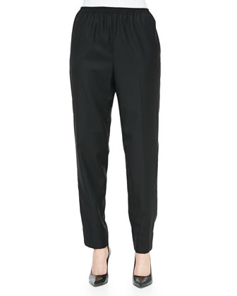 Pull-On Narrow-Leg Ankle Pants