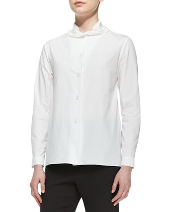 Gathered-Collar Poplin Blouse