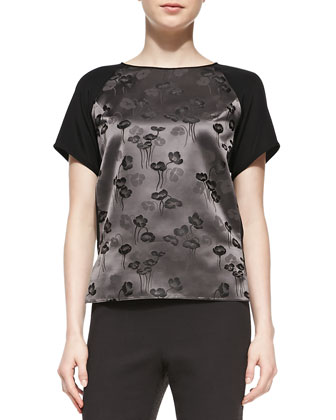 Floral-Print/Solid Short-Sleeve Top
