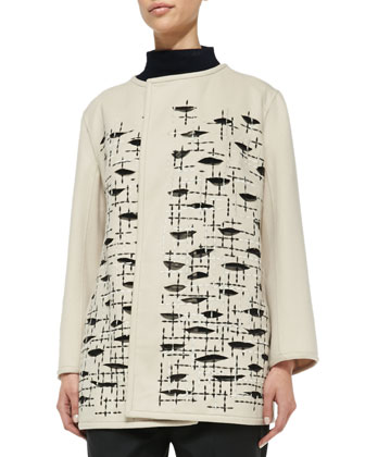 Wool/Cashmere Embroidered Jacket, Funnel-Neck Half-Sleeve Sweater & Pull-On ...