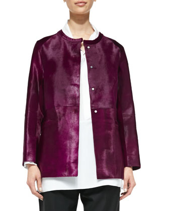Calf Hair Cardigan Jacket, Magenta