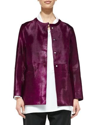 Calf Hair Cardigan Jacket, Magenta