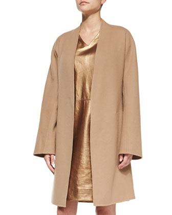 Double-Faced Cardigan Coat & Metallic Leather Cap-Sleeve Dress