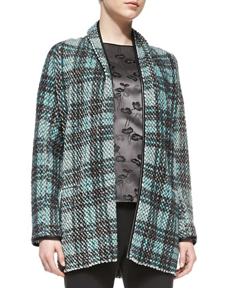 Long Leather-Trim Tweed Cardigan