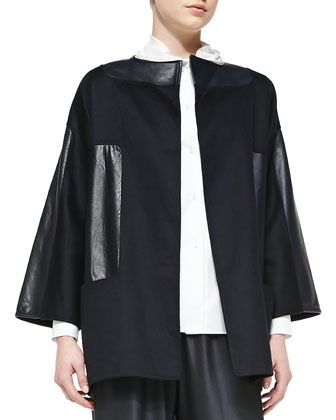Leather-Patch Wool/Cashmere Jacket, Gathered-Collar Poplin Blouse & Pull-On ...