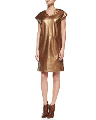 Metallic Leather Cap-Sleeve Dress, Copper