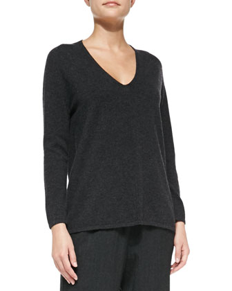 Cashmere Low V-Neck Sweater, Charcoal