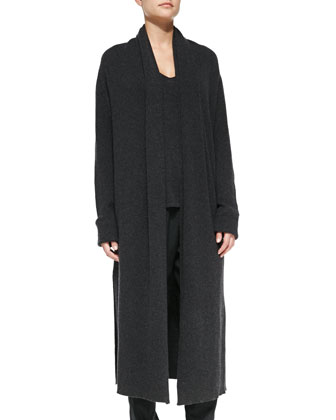 Long Ribbed Cashmere Knit Coat, Cashmere Low V-Neck Sweater & Pull-On ...