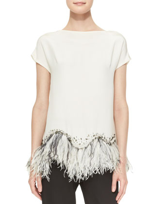 Embellished Feather-Hem Silk Blouse