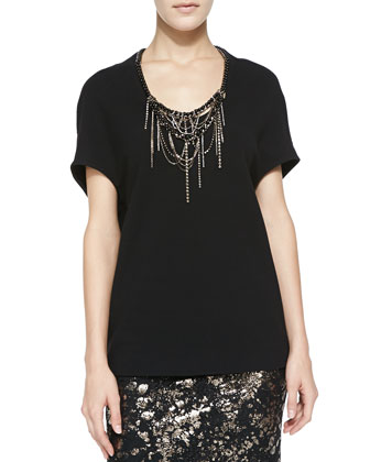 Cocoon Blouse with Embroidered Neckline
